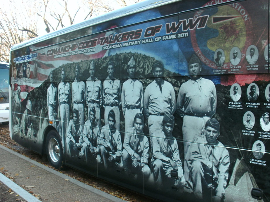 Bus of the Comanche Code Talkers parked outside the National Museum of the American Indian