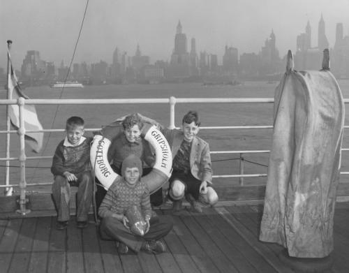 German children internees on board a repatriation voyage.