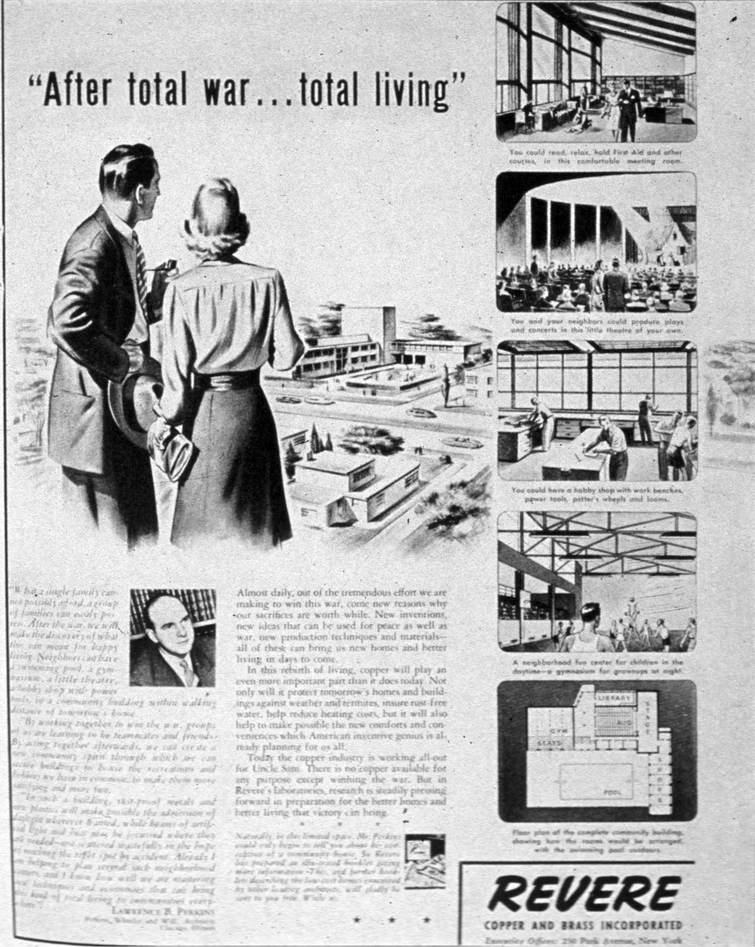 Advertisement for Revere Copper and Brass, Architectural Forum (October 1942).