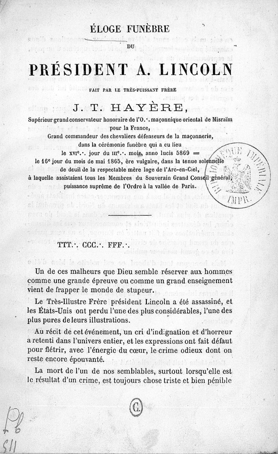 Hayère, J.-T. Discours funèbre prononcé à la mémoire du président Lincoln, 1865, title page. Bibliothèque nationale de France, Paris.