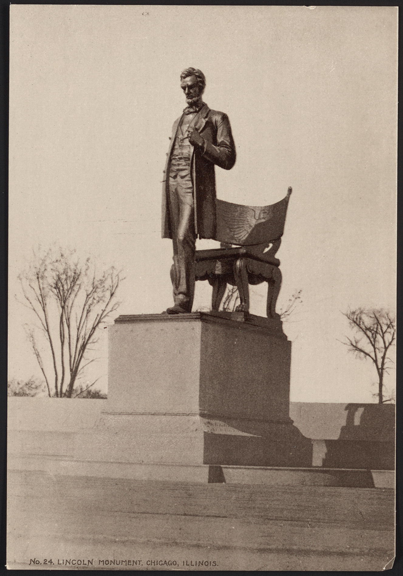 "Fig. 1: Photograph of sculpture entitled ""'The President' Bronze by Saint-Gaudens located in Chicago, Illinois. Hood's Photos of the World, 11 x 16 cm. Library of Congress, Washington, D.C."