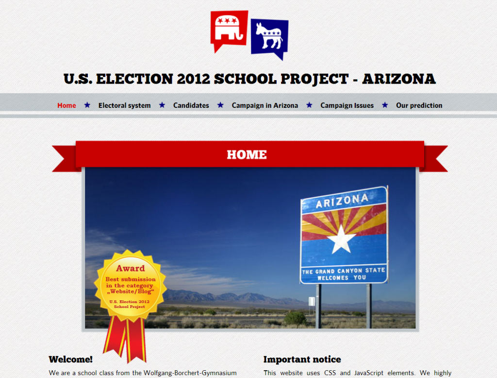 Figure 3: Website Focusing on the State of Arizona as a Learner Text