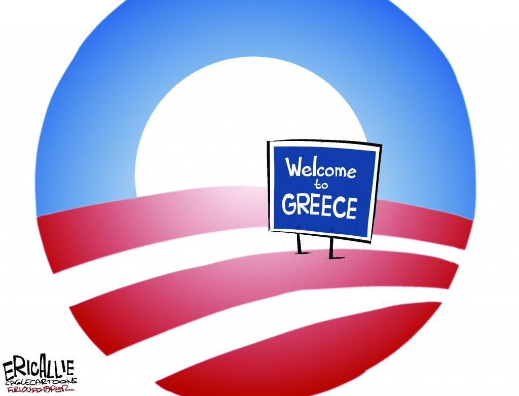 "© Copyright: Eric Allie, ""Obama USA Like Greece Color"" 2009, http://www.politicalcartoons.com"