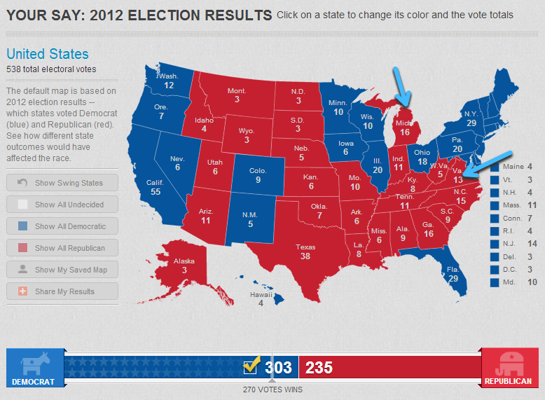 Results of the mock election. (The map was produced using the USA TODAY Electoral Vote Tracker, http://www.usatoday.com/interactives/news/politics/electoral-vote-tracker/)