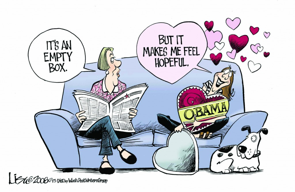 "© Copyright: Lisa Benson, ""Valentine's Day Obama"" 2008, http://www.cartoonistgroup.com"
